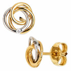 Bicolor Gold Ohrstecker mit 2 Diamant-Brillanten 585...