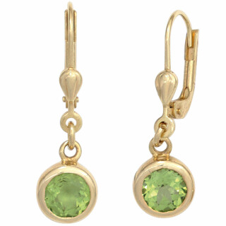 Boutons Ohrringe 585 Gelbgold 2 Peridote grün