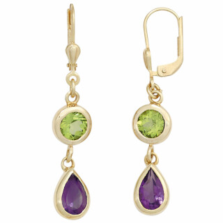 Boutons Ohrringe 585 Gelbgold 2 Amethyste, 2 Peridote grün