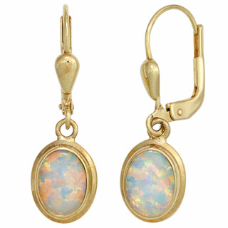 Boutons Ohrringe 333 Gelbgold 2 Opale