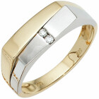 Herren-Ring 585 Bicolor Gold 2 Diamant-Brillanten