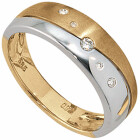 Damenring 585 Bicolor Gold 5 Diamant-Brillanten