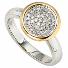 Damenring 585 Bicolor Gold 40 Diamant-Brillanten