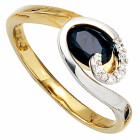 Damenring 585 Bicolor Gold 8 Diamant-Brillanten 1 blauer...