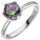 Damen Ring 925 Sterling Silber 1 Zirkonia multicolor