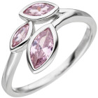 Damen Ring 925 Sterling Silber 3 Zirkonia rosa